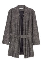 Long jacket with a tie belt - Black marl - Ladies | H&M GB 2