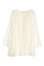 Hole-embroidered cotton blouse - Natural white - Ladies | H&M CN 1