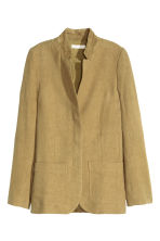 Jacket in a linen blend - Olive green - Ladies | H&M CN 2