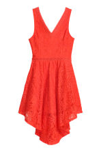 Sleeveless lace dress - Coral red - Ladies | H&M CN 2