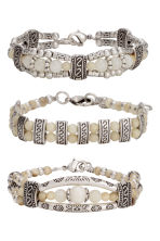 3-pack bracelets - Silver/Natural white - Ladies | H&M CN 1