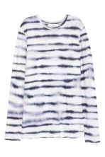 Long-sleeved jersey top - White/Blue pattern - Ladies | H&M CN 2