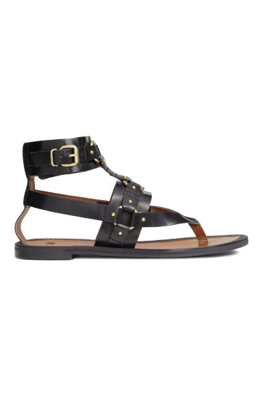 Leather sandals - Black - Ladies | H&M CN 1