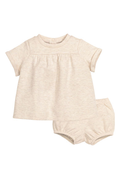 Top and puff pants - Light beige marl - Kids | H&M CN 1