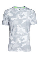 Short-sleeved sports top - Light grey/Patterned - Men | H&M CN 2