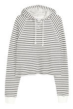 短版連帽上衣 - White/Black striped - Ladies | H&M 2