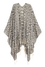 Jacquard-weave poncho - Black/White/Patterned - Ladies | H&M CN 1
