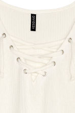 Fine-knit top with lacing - Natural white - Ladies | H&M CN 3
