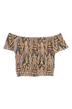 Off-the-shoulder crop top - Orange/Patterned - Ladies | H&M CN 2