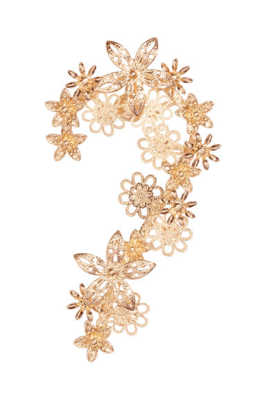 Ear decoration with flowers - Gold - Ladies | H&M 1
