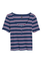 Crop top - Red/Dark blue/Striped - Ladies | H&M GB 2