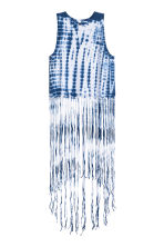 Fringed jersey top - Dark blue/Batik - Ladies | H&M CN 2