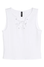 Crop vest top with lacing - White - Ladies | H&M CN 2