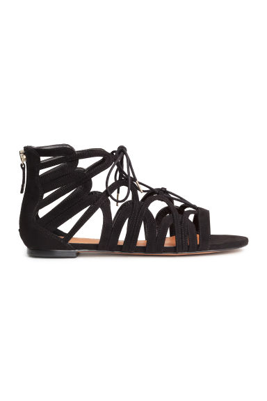 Lace-up sandals - Black - Ladies | H&M CN 1