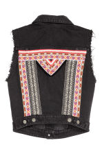 Denim waistcoat with panel - Black - Ladies | H&M CN 3