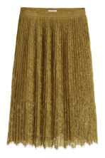 Pleated lace skirt - Olive green - Ladies | H&M GB 2