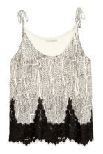 Strappy top with lace - White/Patterned - Ladies | H&M CN 2