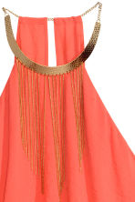Necklace-trim halterneck dress - Coral - Ladies | H&M CN 2