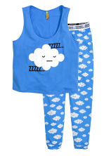 Jersey vest top pyjamas - Blue/Cloud - Ladies | H&M CN 2