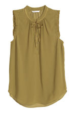 Sleeveless chiffon blouse - Olive green - Ladies | H&M CN 2