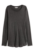Long-sleeved lyocell top - Dark grey marl - Ladies | H&M CN 2