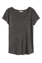 Lyocell jersey top - Dark grey marl - Ladies | H&M CN 1