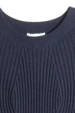 Ribbed dress - Dark blue - Ladies | H&M GB 3