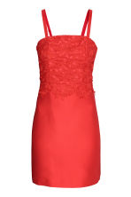 Dress with lace bodice - Coral red - Ladies | H&M CN 2