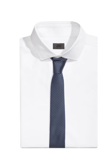 Spotted satin tie - Dark blue - Men | H&M