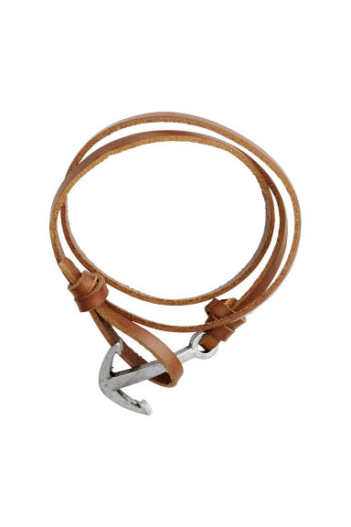 Leather bracelet - Brown/Silver-coloured - Men | H&M CN 1