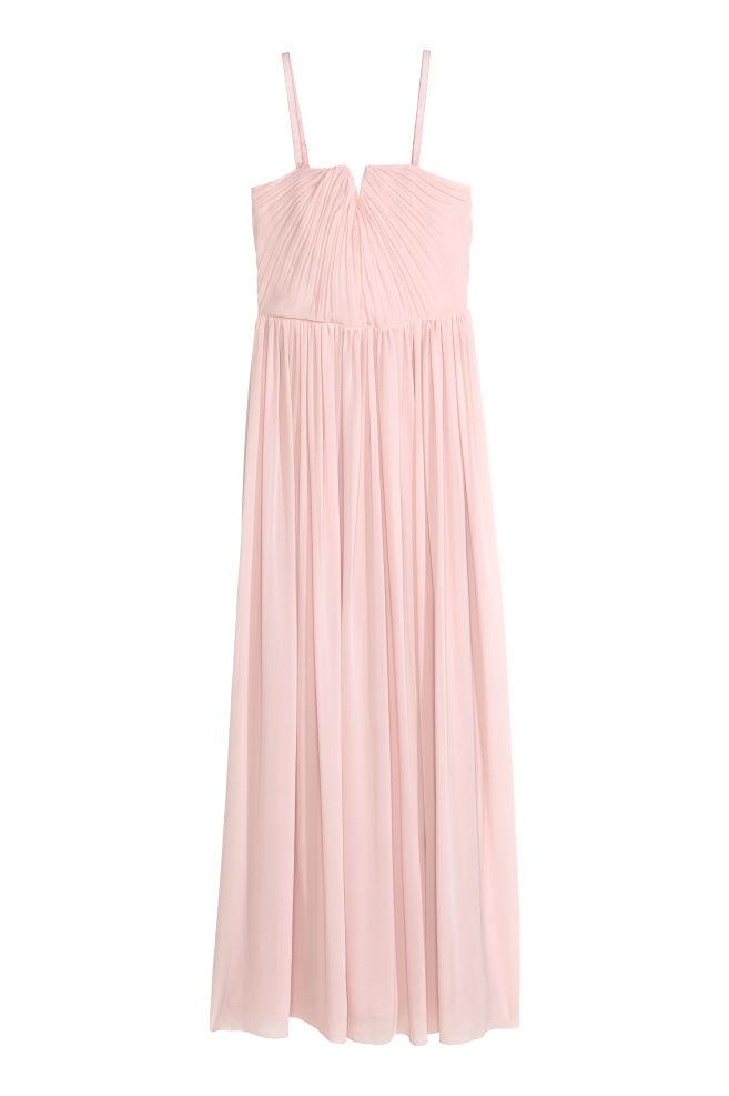 Pleated maxi dress - Powder pink - Ladies | H&M GB