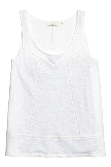 Top in jersey flammé - Bianco - DONNA | H&M IT