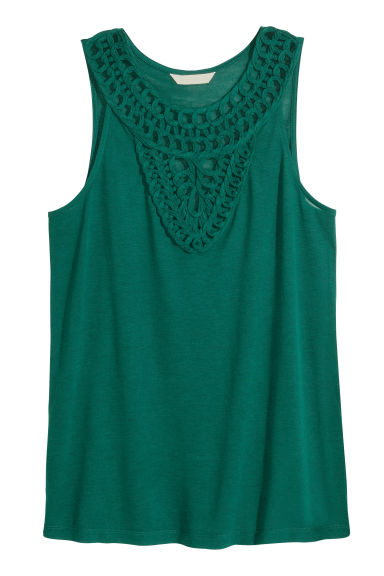 Top with appliqués - Dark green - Ladies | H&M CN 1