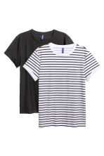 2-pack T-shirts - Black/White/Striped - Men | H&M CN 2
