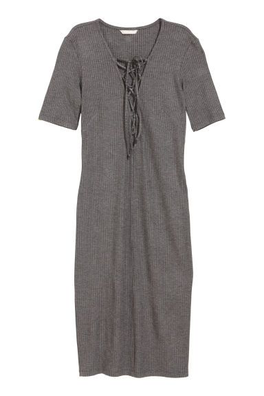 Ribbed dress with lacing - Dark grey marl - Ladies | H&M CN 1
