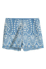 Embroidered cotton shorts - Blue/Chambray - Ladies | H&M CN 2