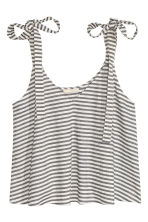 Sleeveless crop top - White/Striped - Ladies | H&M CN 2