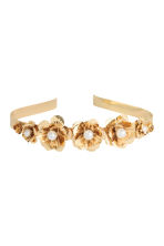 Alice band with flowers - Gold - Ladies | H&M CN 2