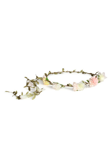 Hairband with flowers - Green/Pink - Ladies | H&M CN 1