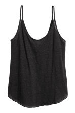 Linen jersey strappy top - Black - Ladies | H&M CN 1