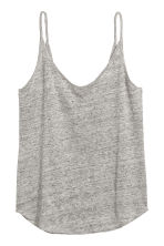 Linen jersey strappy top - Grey marl - Ladies | H&M CN 2