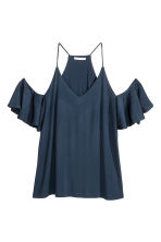 Cold shoulder top - Dark blue - Ladies | H&M CN 2