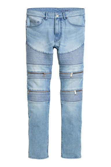Skinny Regular Biker Jeans - Light denim blue - Men | H&M CN 1