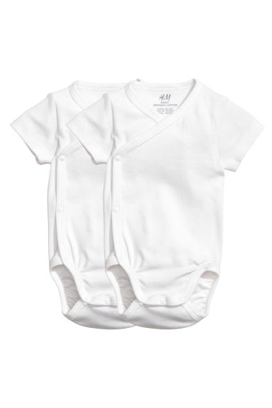 2-pack wrapover bodysuits - White - Kids | H&M CN