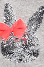 Top with a sequined appliqué - Grey/Rabbit - Kids | H&M CN 3