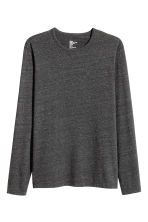 Long-sleeved T-shirt Slim fit - Dark grey marl - Men | H&M CN 2