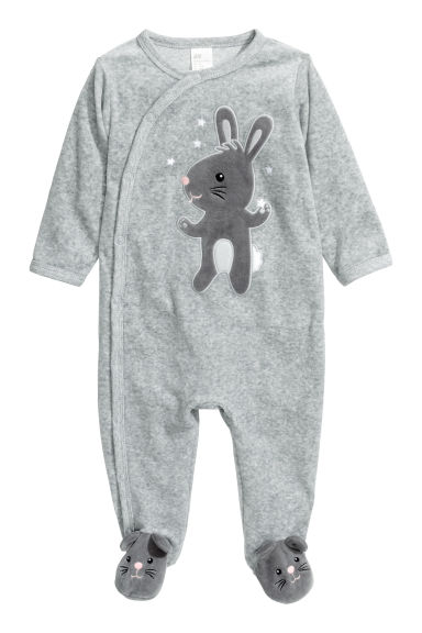 Velour pyjamas - Grey/Rabbit - Kids | H&M CN 1