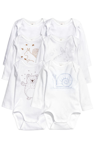 6件入哈衣 - White/Animal - Kids | H&M CN 1