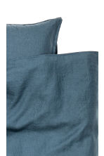 Washed linen duvet cover set - Dark petrol - Home All | H&M CN 3