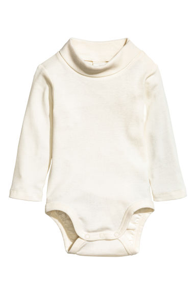 Polo-neck bodysuit - Natural white -  | H&M CN 1